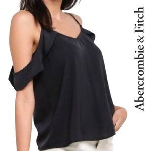 Abercrombie Cold Shoulder Ruffle Sleeve Blouse